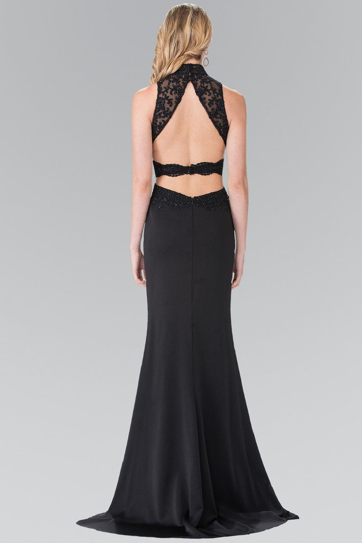Beaded Illusion Dress with Open Back by Elizabeth K GL2225-Long Formal Dresses-ABC Fashion
