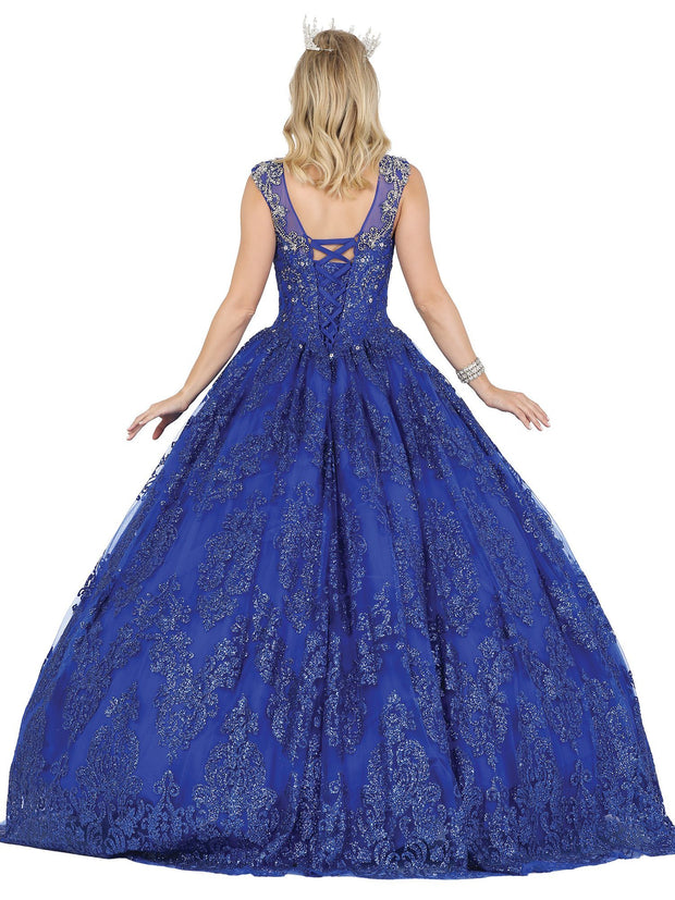 Beaded V-Neck Glitter Print Ball Gown by Dancing Queen 1449
