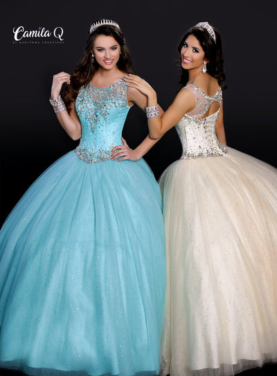 Beaded Illusion Glitter Quinceanera Dress by Camila Q Q17110-Quinceanera Dresses-ABC Fashion