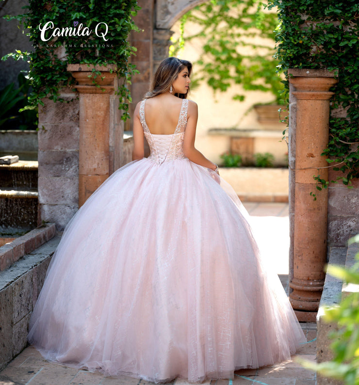 Beaded Illusion Glitter Quinceanera Dress by Camila Q Q19001-Quinceanera Dresses-ABC Fashion