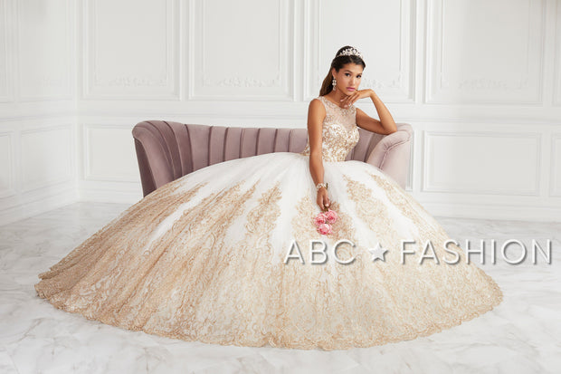 Beaded Illusion Glitter Quinceanera Dress by House of Wu 26941-Quinceanera Dresses-ABC Fashion