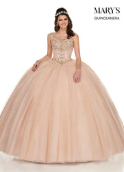 Beaded Illusion Glitter Quinceanera Dress by Mary's Bridal MQ1049-Quinceanera Dresses-ABC Fashion