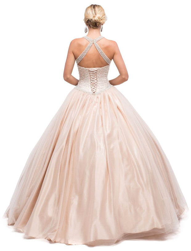 Beaded Illusion Halter A-line Ball Gown by Dancing Queen 1169-Quinceanera Dresses-ABC Fashion
