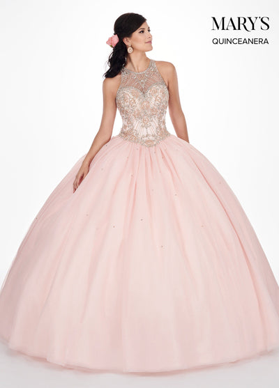 Beaded Illusion Halter Quinceanera Dress by Mary's Bridal MQ1044-Quinceanera Dresses-ABC Fashion