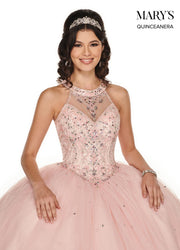 Beaded Illusion Halter Quinceanera Dress by Mary's Bridal MQ1048-Quinceanera Dresses-ABC Fashion