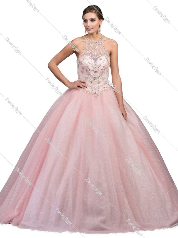 Beaded Illusion High-Neck Ball Gown by Dancing Queen 1222