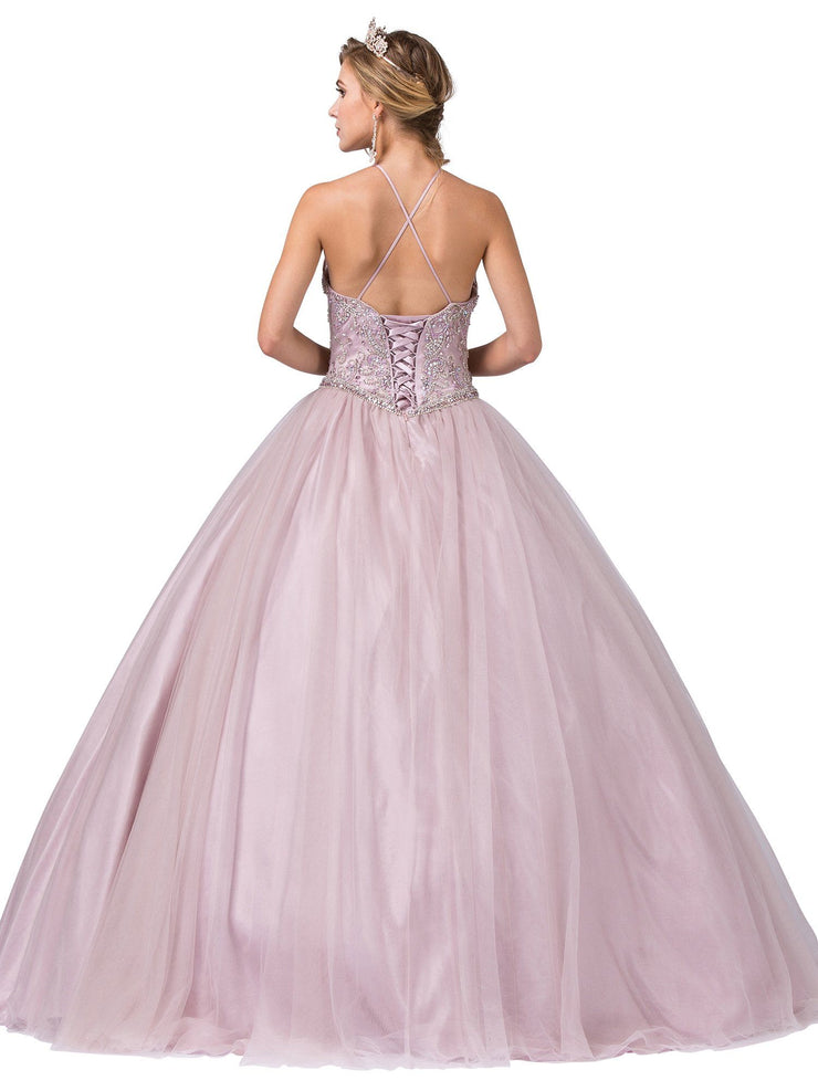 Beaded Illusion High-Neck Pink Ball Gown by Dancing Queen 1340