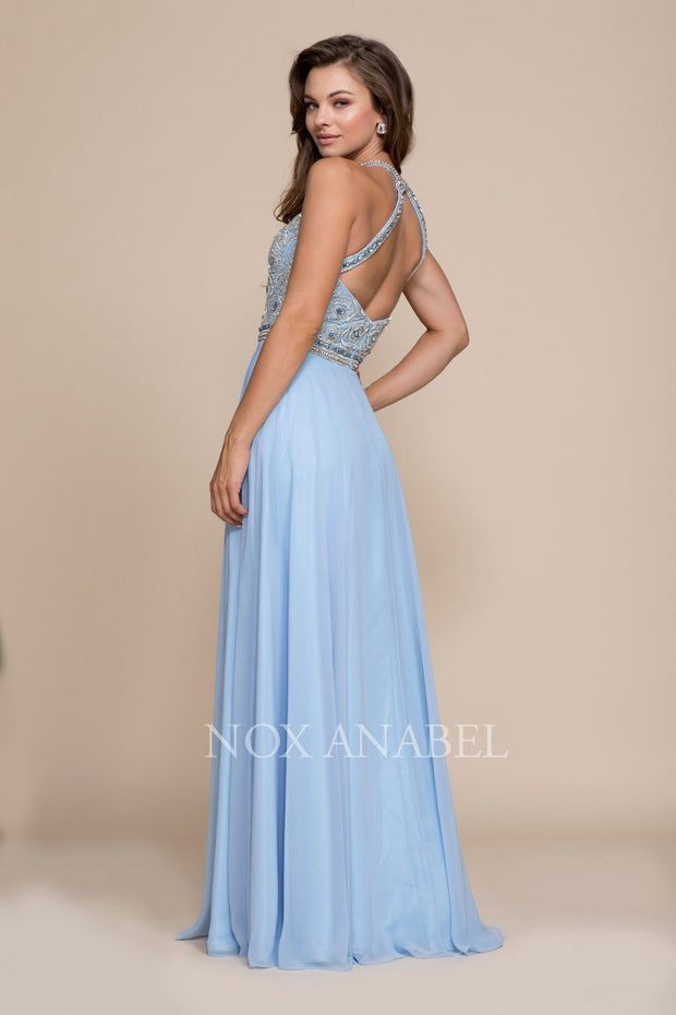 Beaded Illusion Long Halter Dress by Nox Anabel 8295-Long Formal Dresses-ABC Fashion