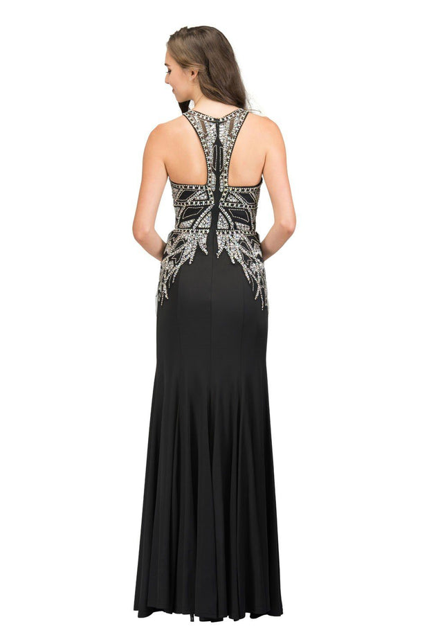 Beaded Illusion Long Sleeveless Dress with Slit by Star Box 17314-Long Formal Dresses-ABC Fashion