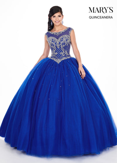 Beaded Illusion Quinceanera Dress by Mary's Bridal MQ2047-Quinceanera Dresses-ABC Fashion