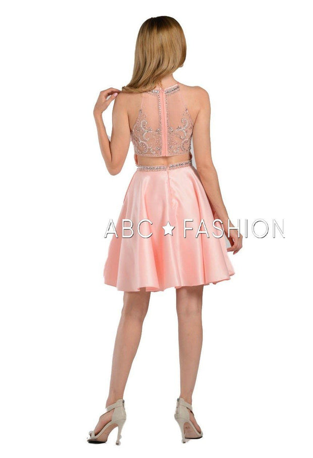 Beaded Illusion Short High-Neck Dress with Pockets by Poly USA 8038-Short Cocktail Dresses-ABC Fashion