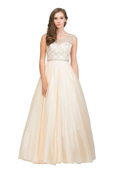 Beaded Illusion Sleeveless Ball Gown with Open Back Cut Out by Star Box 17319-Long Formal Dresses-ABC Fashion