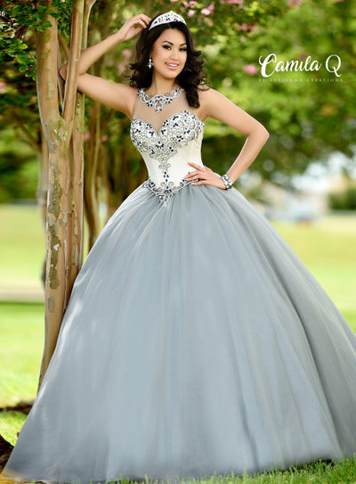 Beaded Illusion Sleeveless Quinceanera Dress by Camila Q Q17002-Quinceanera Dresses-ABC Fashion