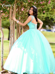 Beaded Illusion Sleeveless Quinceanera Dress by Camila Q Q17011-Quinceanera Dresses-ABC Fashion