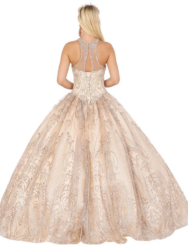 Beaded Illusion Sweetheart Ball Gown by Dancing Queen 1520