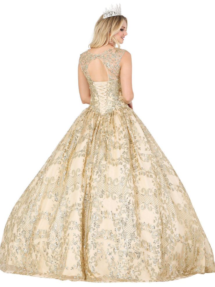 Beaded Illusion Sweetheart Ball Gown by Dancing Queen 1523