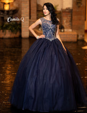 Beaded Illusion Sweetheart Quinceanera Dress by Camila Q Q19005-Quinceanera Dresses-ABC Fashion