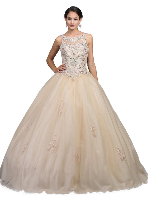 Beaded Lace Applique Illusion Ball Gown by Dancing Queen 1228-Quinceanera Dresses-ABC Fashion