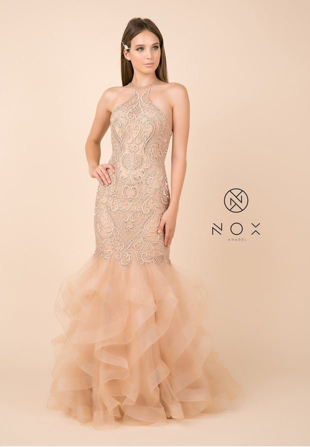 Beaded Lace Halter Mermaid Dress with Ruffled Tulle Skirt by Nox Anabel M189-Long Formal Dresses-ABC Fashion