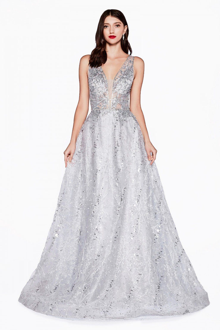 Beaded Lace Long Deep V-Neck Dress by Cinderella Divine CD46-Long Formal Dresses-ABC Fashion