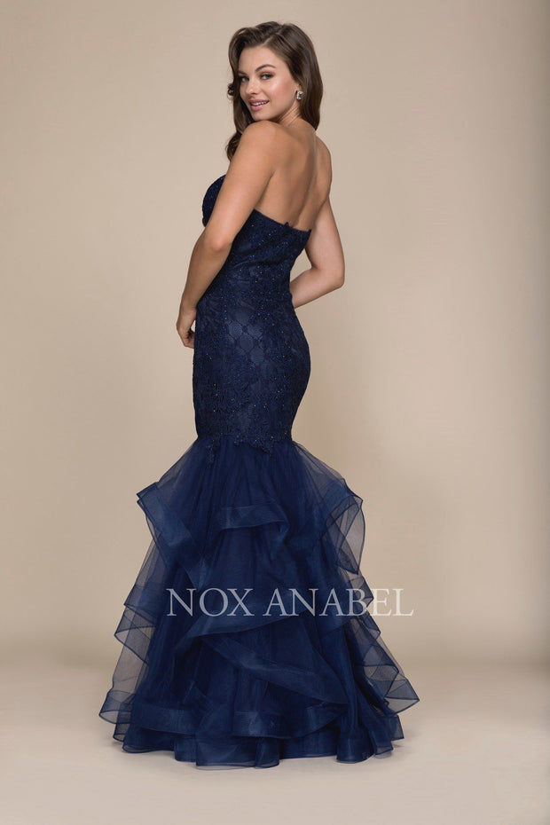 Beaded Lace Long Strapless Mermaid Dress by Nox Anabel A054-Long Formal Dresses-ABC Fashion