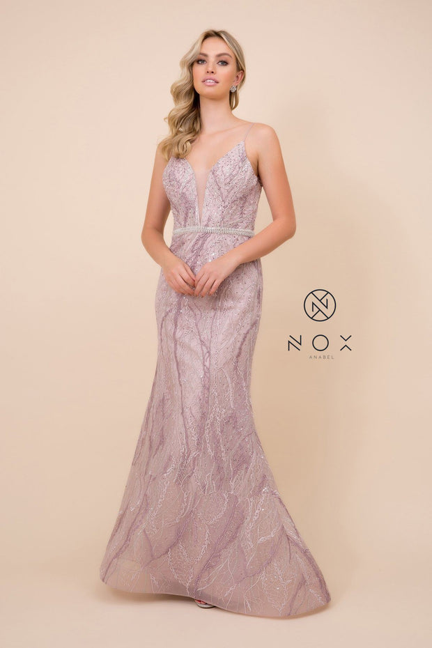 Beaded Lace Mermaid V-Neck Dress by Nox Anabel Y409
