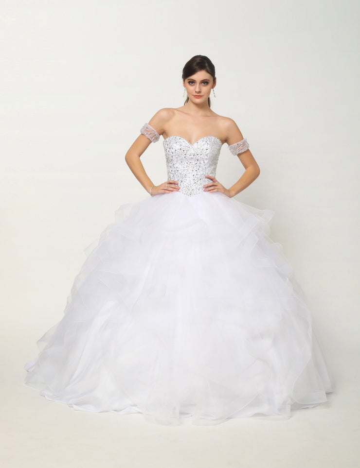 Beaded Lace Sweetheart Ball Gown with Flounced Skirt by Juliet 1425-Quinceanera Dresses-ABC Fashion