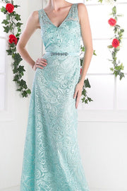 Beaded Lace V-Neck Sheath Dress by Cinderella Divine 1420