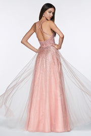 Beaded Long A-line Tulle Dress by Cinderella Divine CR822-Long Formal Dresses-ABC Fashion