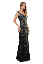 Beaded Long Black Dress with Wide V-Neckline by Poly USA 8362-Long Formal Dresses-ABC Fashion
