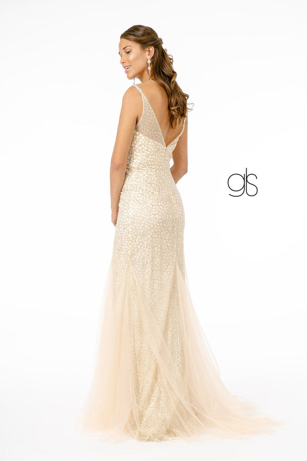 Beaded Long Deep V-Neck Mermaid Dress by Elizabeth K GL1842