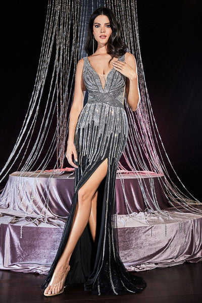 Beaded Long Fitted Glitter Dress by Cinderella Divine CD69