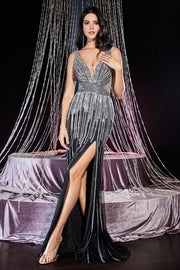 Beaded Long Fitted Glitter Dress with Slit by Cinderella Divine CD69