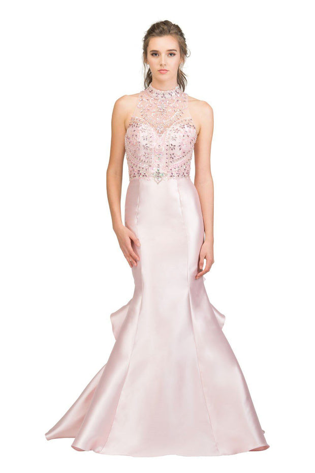Beaded Long Halter Mermaid Dress with Ruffled Back by Star Box 17301-Long Formal Dresses-ABC Fashion