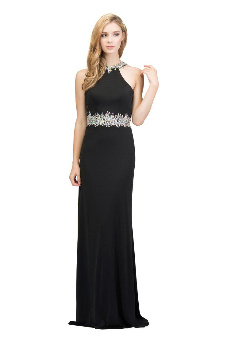 Beaded Long High Neck Dress with Back Cut Out by Star Box 17413-Long Formal Dresses-ABC Fashion