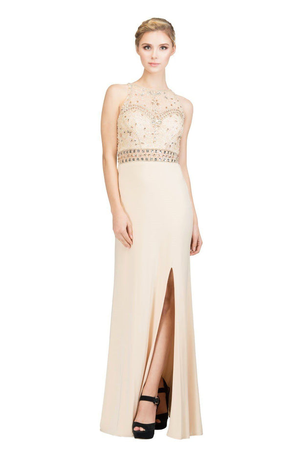 Beaded Long High Neck Dress with Side Slit by Star Box 6191-Long Formal Dresses-ABC Fashion