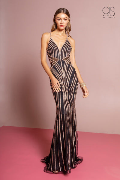 Beaded Long Illusion V-Neck Trumpet Dress by GLS Gloria GL2633-Long Formal Dresses-ABC Fashion