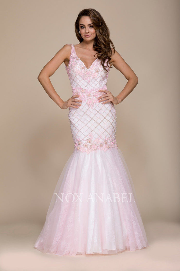 Beaded Long Pink V-Neck Mermaid Dress by Nox Anabel 8329-Long Formal Dresses-ABC Fashion