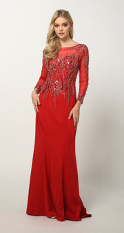 Beaded Long Sleeve Formal Gown with Train by Juliet 646-Long Formal Dresses-ABC Fashion