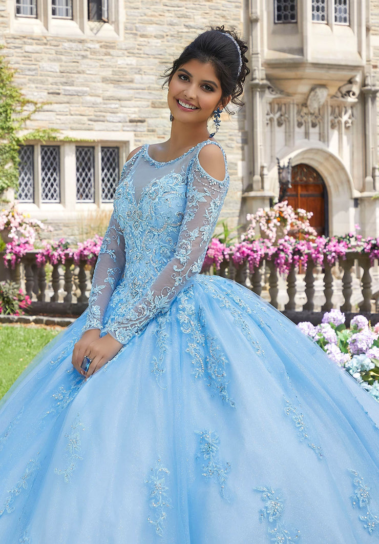 Beaded Long Sleeve Quinceanera Dress by Mori Lee Valencia 60102-Quinceanera Dresses-ABC Fashion