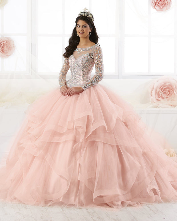 Beaded Long Sleeved Quinceanera Dress by House of Wu 26904-Quinceanera Dresses-ABC Fashion