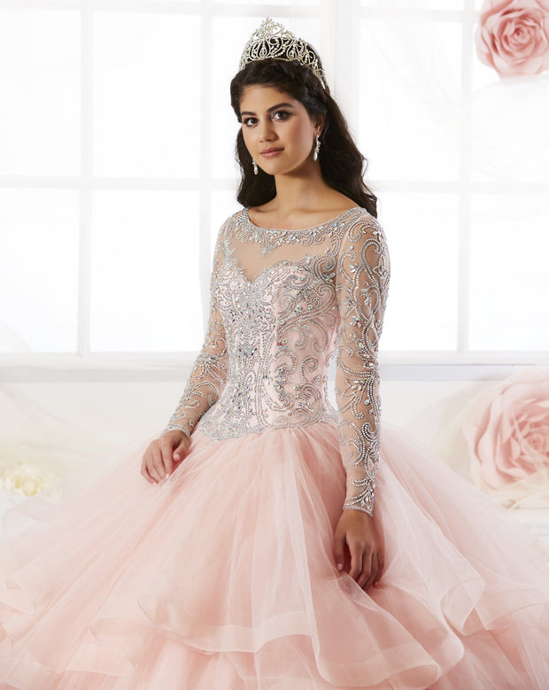 Beaded Long Sleeved Quinceanera Dress by H