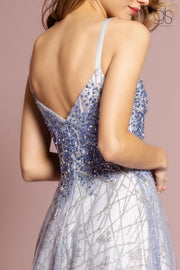 Beaded Long Sleeveless Dress with Glitter Skirt by GLS Gloria GL2638-Long Formal Dresses-ABC Fashion