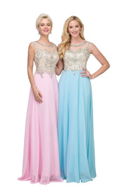 Beaded Long Sleeveless Dress with Sheer Back by Star Box 6098-Long Formal Dresses-ABC Fashion