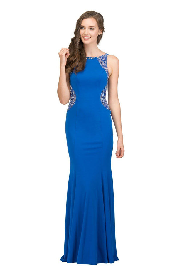 Beaded Long Sleeveless Trumpet Dress with Sheer Back by Star Box 17291-Long Formal Dresses-ABC Fashion
