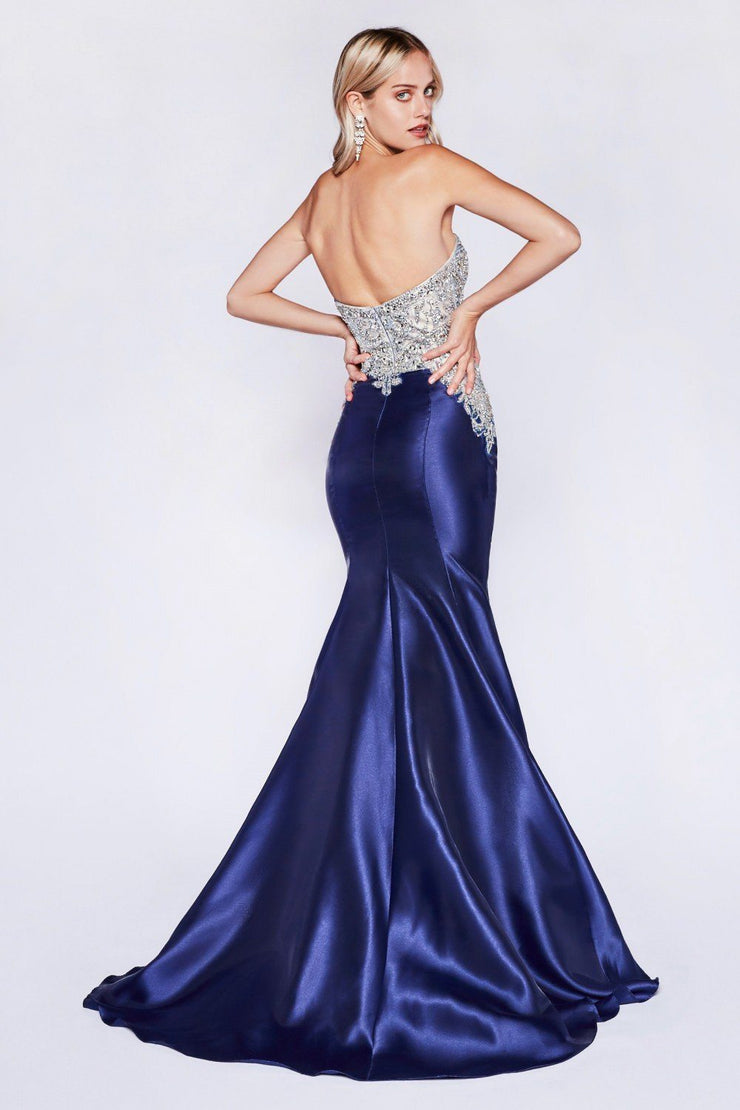Beaded Long Strapless Mermaid Dress by Cinderella Divine 84099-Long Formal Dresses-ABC Fashion