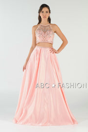 Beaded Long Two-Piece Dress with Pockets by Poly USA 8210-Long Formal Dresses-ABC Fashion