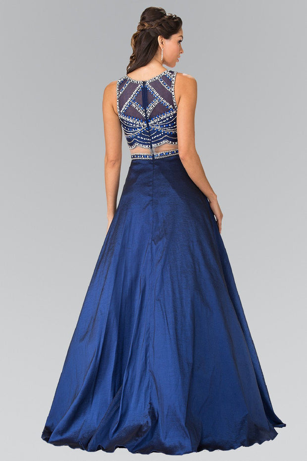 Beaded Mock Two-Piece Dress with Sheer Waistline by Elizabeth K GL2250-Long Formal Dresses-ABC Fashion
