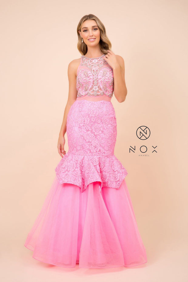 Beaded Mock Two-Piece Mermaid Dress by Nox Anabel 8284