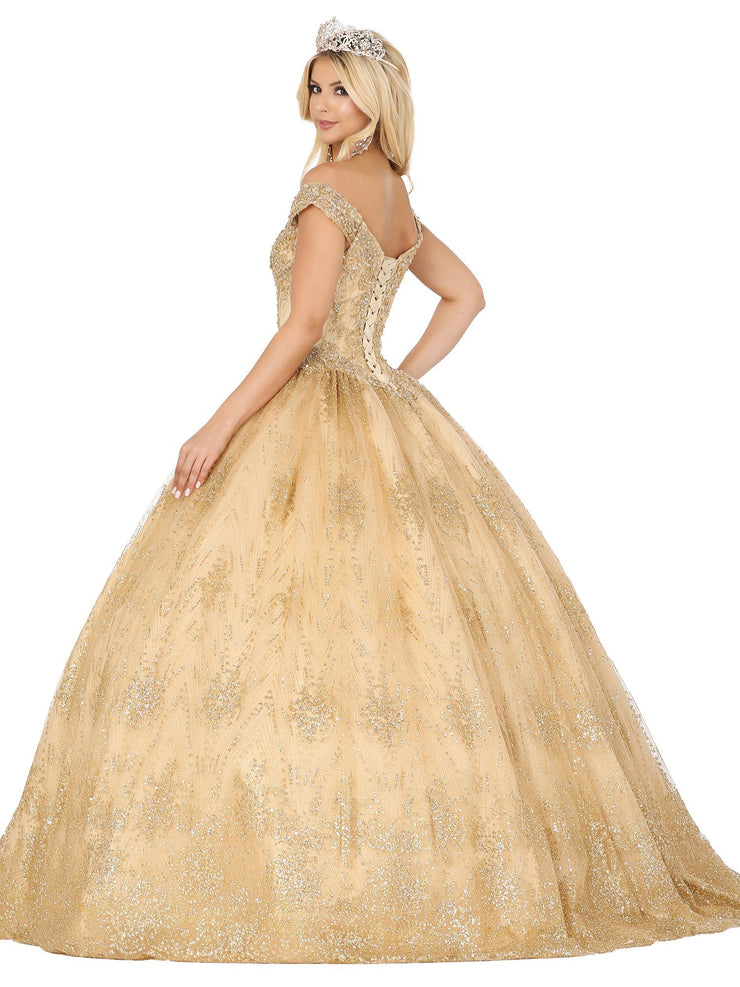 Beaded Off Shoulder Glitter Ball Gown by Dancing Queen 1441